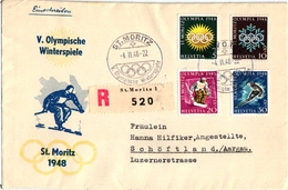 1 First Day Envelope Olympische Winterspiele St Moritz 1948 Suisse Skifahren - Sports D'hiver