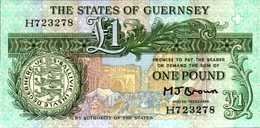 GUERNESEY 1 LIVRE De 1980nd  Pick 48b  UNC/NEUF - Guernesey
