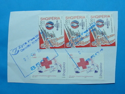 2017 ALBANIAN STAMPS EURO FOOTBALL 2016 FRANCE, 150 YEARS OF RED CROSS Postmark KUKES ON PIECE OF ENVELOPE.