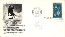 3 First Day Of Issue  Envelope Olympic Winter Games California 1960 Ski Mark Cachet  Aruba Oranjestad - Invierno