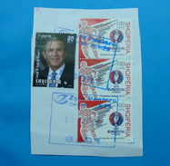 2017 ALBANIAN STAMPS EURO FOOTBALL 2016 FRANCE, GEORGE BUSH VISIT IN ALBANIA Postmark KUKES ON PIECE OF ENVELOPE.