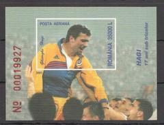 D96 IMPERFORATE 2001 ROMANIA SPORT FOOTBALL HAGI 1BL MNH