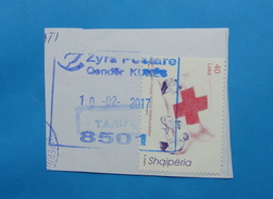 2017 ALBANIAN STAMPS 150 YEARS RED CROSS IN ALBANIA Postmark KUKES ON PIECE OF ENVELOPE.