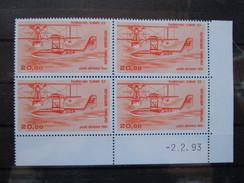 France. Coin Daté 02/02/1993. YT. PA 58b **. Hydravion CAMS 53. Impression Fine Sur Papier Couché.
