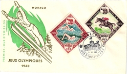 2 First Day Of Issue  Envelope  Jeux Olympiques 1960 MONACO  Premier Jour Emission  Ski - Sports D'hiver