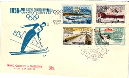 1 First Day Of Issue  Envelope  Jeux Olympiques   Premier Jour Emission 1956  Cortina Ampezzo Italia  Ski - Sports D'hiver