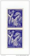Iris 1fr30 Outremer YT 434 Signature Du Graveur Effacée Tenant à Normal . Voir Le Scan . Cote Maury N° 434h > 9 € .