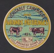 Etiquette De Fromage Camembert  -  Des Grands Pâturages  -  Bruneau Doré  à  Saint Mars De Locquenay  (72) - Cheese