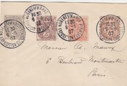 France Cachet Nogent Exposition Coloniale Sur Lettre 1907 - Postmark Collection (Covers)