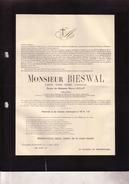 FURNES VEURNE ANDERLECHT Joseph BIESWAL époux LECLEF Industriel  1862-1929 Doodsbrief - Overlijden