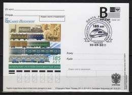 Russia 2012 Postal Stationery Card First  Day Cancel.  185 Years Wagon Reparation  Factory Locomotive Locomotoves Train - Trains