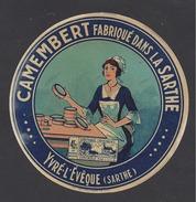 Etiquette De Fromage Camembert  -    Yvré L'Evêque  (72) - Fromage