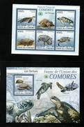 ANIMAUX  TORTUES  COMORES  N° 1641/45  Et    BF N° 195      Neuf Sans Charnière  N**   Série Complète  Année 2009