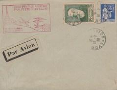 Yvert 343 Anatole France + 365 Paix Sur Lettre Cachet LYON GARE AVION 16/2/1938  - Ligne Postale Aérienne PARIS NICE