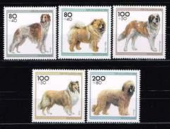 Bund 1996, Michel# 1836 - 1840 ** Für Die Jugend: Hunderassen