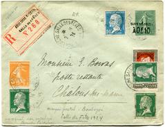 FRANCE ENTIER POSTAL RECOMMANDE AVEC AFFRANCHISSEMENT COMPLEMENTAIRE DEPART BOULOGNE SALLE DES FETES 2-10-24 SEINE....RR - Postal Stamped Stationery