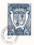 TAAF Y&T PA21 Armoiries Oblit.St Paul Et Amsterdam 23/04/71 Sur Fragment