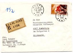 Lettre Recommandée De SHAPE Paris_Vaucresson (11.02.1966) Pour Bückeburg_OTAN_NATO_