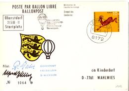 CP De Obertdorf Pour Lenggries (23.05.1966)_Ballon Libre_ballonpost_Freiballon - Briefe U. Dokumente