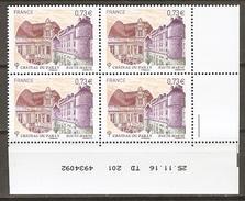 FRANCE  -   Nouveauté.  Château Du Pailly En Bloc De 4 **  Coin Daté Du 25.11.16 ,   à L'envers !!!!