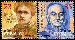 Serbia - 2016 - Mileva Maric-Einstein And Milos Obrenovich - Mint Definitive Stamp Set - Serbia