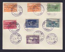 TIMBRE. LETTRE. ENVELOPPE. ALBANIE. 1924 SERIE N° 144/150 SARANDE. ZYRA POSTARE. N° 144.145.146.147.148.149.150.