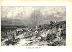 Ein Hünengrab In Der Lüneburger Heide ( Eugen Bracht) / Druck Mit Gedicht, Entnommen Aus Zeitschrift/1896 - Livres, BD, Revues