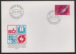 M 430) Schweiz 1973 Mi# 989 FDC: 100 J. Kaufmann Verein, Federkiel Pfeilsignet