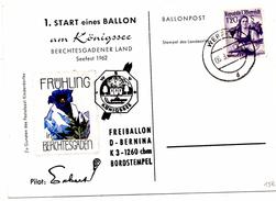 CP De Königsee Pour Werfen (06.03.1962) Freiballon_Ballonpost_Berchtesgarden