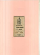 FRANCE 75 . PUB. L'EAU DE COLOGNE N°555 . ANNEES 1920 . DECOUPEE ET COLLEE SUR PAPIER . - Parfums & Beauté
