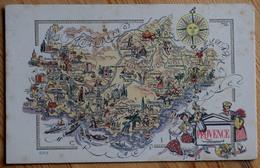 Provence - CPA Carte Géographique & Touristique Illustrée De La Région - ODE - (n°7595)