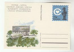 1972 POLAND Postal STATIONERY Illus CHILDRENS HOSPITAL Card Cover Stamps Health Medicine - Medicine