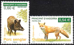 FRENCH ANDORRA 2008 Red Fox Wild Boar Animals Fauna MNH - French Andorra