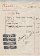 FATTURA P.CIOTTOLI CON 4 MARCHE DA BOLLO DA 0,50 CENT 1946 (TAGLIO A DX , NON PERFETTA A DX) (D39 - Italia