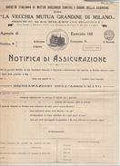NOTIFICA DI ASSICURAZIONE - LA VECCHIA MUTUA GRANDINE DI MILANO 1921 (D42 - Italia