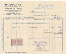 FATTURA 1930 BRAENDLI DERCORAZIONI AMBIENTALI CON MARCHE DA BOLLO (D51 - Italia