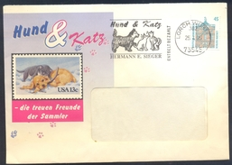 Germany Deutschland 1995 Cover: Fauna Cats Chats Katze; Dog Hund Cien; Dogs And Cats Friends