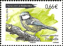 FRENCH ANDORRA 2014 Bird Birds Eurasian Blue Tit Animals Fauna MNH - French Andorra