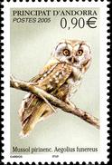 FRENCH ANDORRA 2005 Bird Birds Boreal Owl Animals Fauna MNH - French Andorra