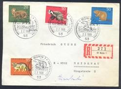 Germany Deutshland 1968 Registered Cover Fauna Chat Katze Wild Cat; Rodents Biber Beaver; Dachs Badger; Fischotter Otter