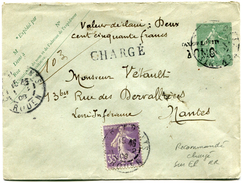 FRANCE ENTIER POSTAL CHARGE  AVEC AFFRANCHISSEMENT COMPLEMENTAIRE DEPART CHARGEMENTS 1-2-08 ROUEN POUR LA FRANCE  RR - Postal Stamped Stationery
