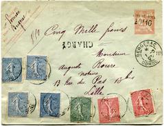 FRANCE ENTIER POSTAL CHARGE  AVEC AFFRANCHISSEMENT COMPLEMENTAIRE DEPART BERGERAC 1-3-07 DORDOGNE POUR LA FRANCE - Postal Stamped Stationery