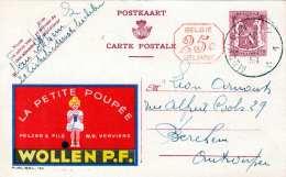 Werbekarte WOLLEN P.F., Belgien 1949 - 65 C Ganzsache