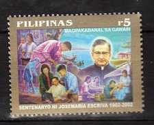 Philippines 2002 The 100th Ann.of The Birth Of Josemaria Escriva De Balaguer (Founder Of Opus Dei Religious Order)MNH - Philippines