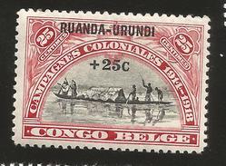 J) 1928 CONGO BELGIUM, 25 CENTS, COLONIZING CAMPAIGN, RUANDA-URUNDI OVERPRINT, MINT