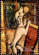 Spanish Andorra - 2016 - Animals In Art - Dog Altarpiece Of San Cristobal - Mint Stamp