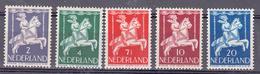 Nederland  1946 Nvph Nr 469 - 473, Mi Nr 472 - 476 Kinderzegels, Thema: Kind Te Paard In Draaimolen, Horse - Periode 1891-1948 (Wilhelmina)