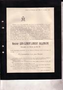 FONTIN MERY Léon-Clément DALLEMAGNE Château Du MONCEAU TILFF 54 Ans 1895 Faire-part Mortuaire - Todesanzeige