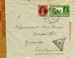 1/2a KGVI And 3a KGVI Dak Tonga 1941 Mahuadanr To International Red Cross, Geneva, Switzerland.  India Censor.  EU...