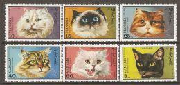 Manama 1971 Mi# 585-590 A ** MNH - Cats